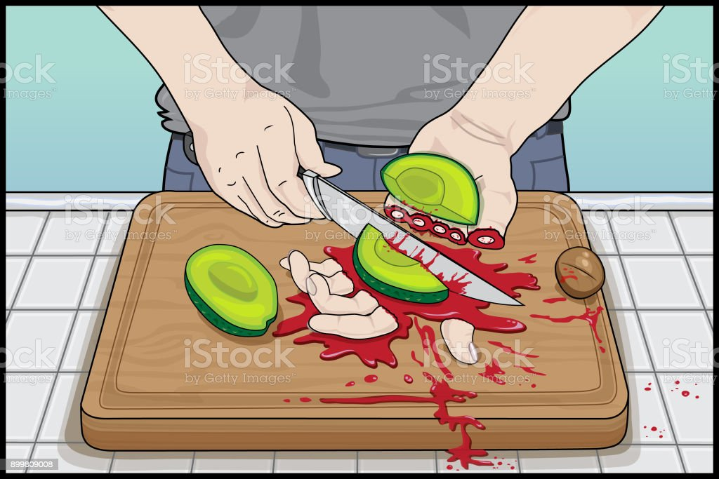 'Avocado Hand' Safety Hazard, How Not To Cut An Avocado vector art illustration