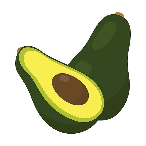 illustrazioni stock, clip art, cartoni animati e icone di tendenza di avocado icon cartoon. singe fruit icon. - avocado