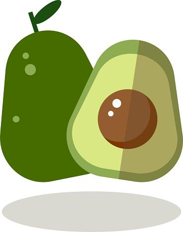 Avocado icon logo in cartoon vector.