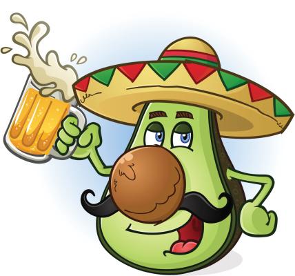 Avocado Mexican Cartoon Character Drinking Beer