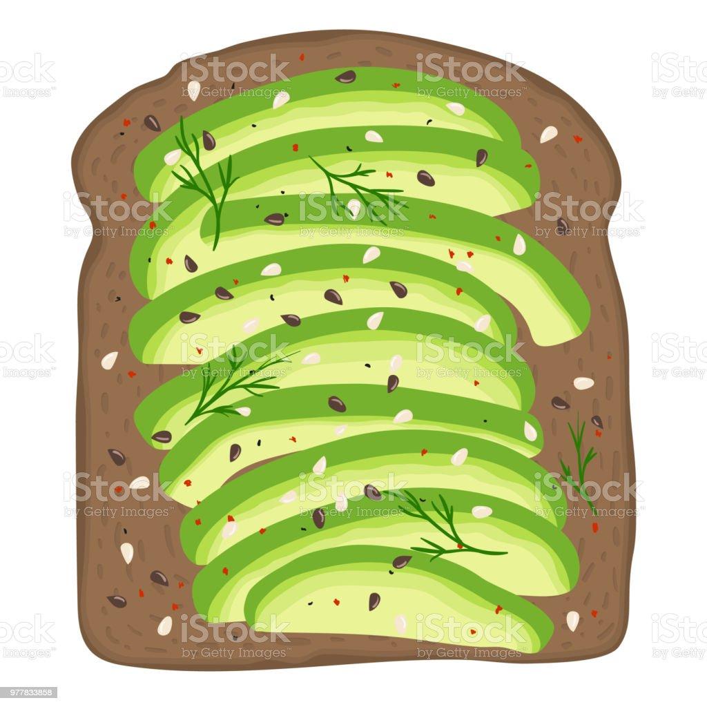 Avocado on dark rye toast bread. Delicious avocado sandwich. Vector illustration. vector art illustration