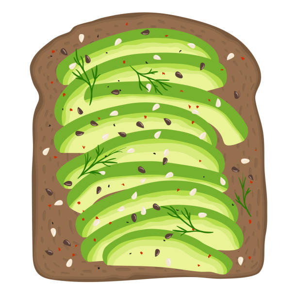 illustrazioni stock, clip art, cartoni animati e icone di tendenza di avocado on dark rye toast bread. delicious avocado sandwich. vector illustration. - avocado
