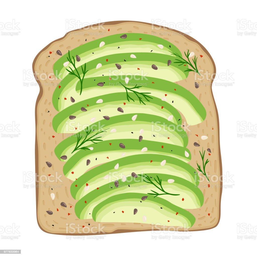 Avocado on toast bread. Delicious avocado sandwich. Vector illustration. vector art illustration