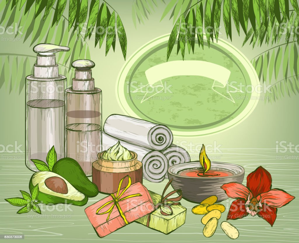 Avocado organic oil and spa cosmetics background vector art illustration