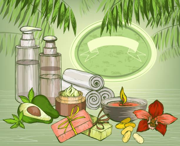Avocado organic oil and spa cosmetics background vector art illustration