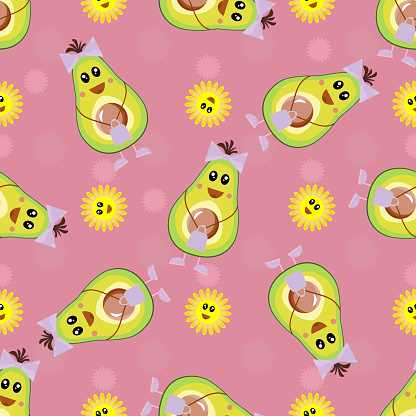Avocado patterns, seamless vector illustration. Repetitive background of funny tropical fruits for the kids. Textiles and fabrics for baby. Half an avocado. Healthy vegetarian food for diet. Design