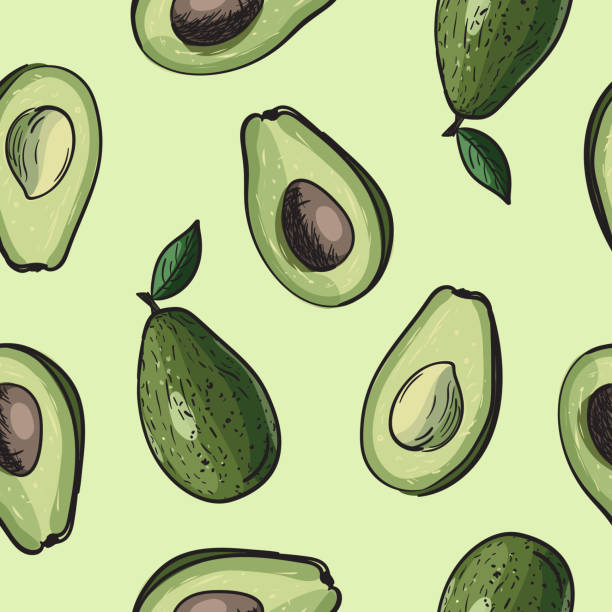 Avocado seamless background Seamless avocado background. Drawing vector pattern with avocado fruit. avocado patterns stock illustrations
