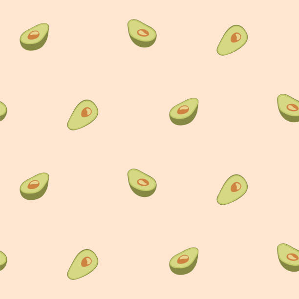 Avocado seamless pattern for print, fabric and organic, vegan, raw products packaging. Texture for eco and healthy food Avocado seamless pattern for print, fabric and organic, vegan, raw products packaging. Texture for eco and healthy food avocado patterns stock illustrations