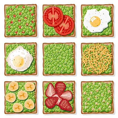 Avocado Toast Icon Set