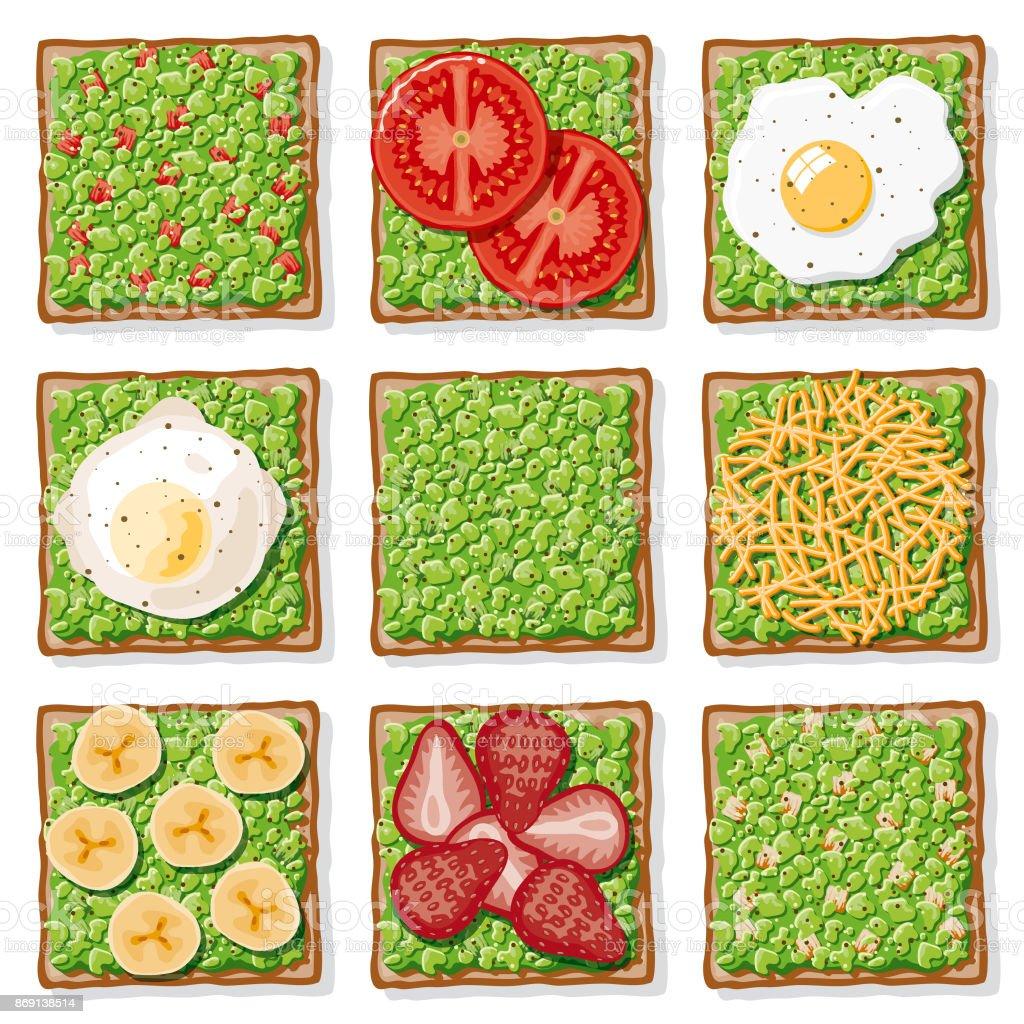 Avocado Toast Icon Set vector art illustration