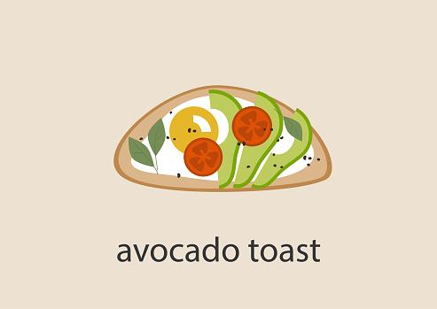 Avocado toast on isolated plain background, hipster eco food, lifestyle