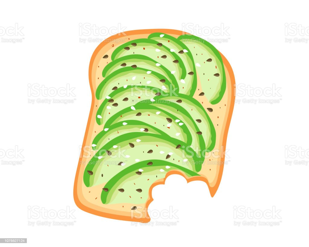 Avocado toast. Sliced avocado on toast bread with spices. Delicious avocado sandwich with sesame seeds, seasoning and dill. Vector illustration. vector art illustration