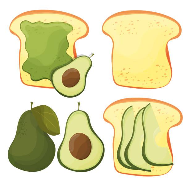 avocado-toast - vektor-set. frisch geröstetes brot mit avocado. leckeren sandwich - dinkelbrot stock-grafiken, -clipart, -cartoons und -symbole