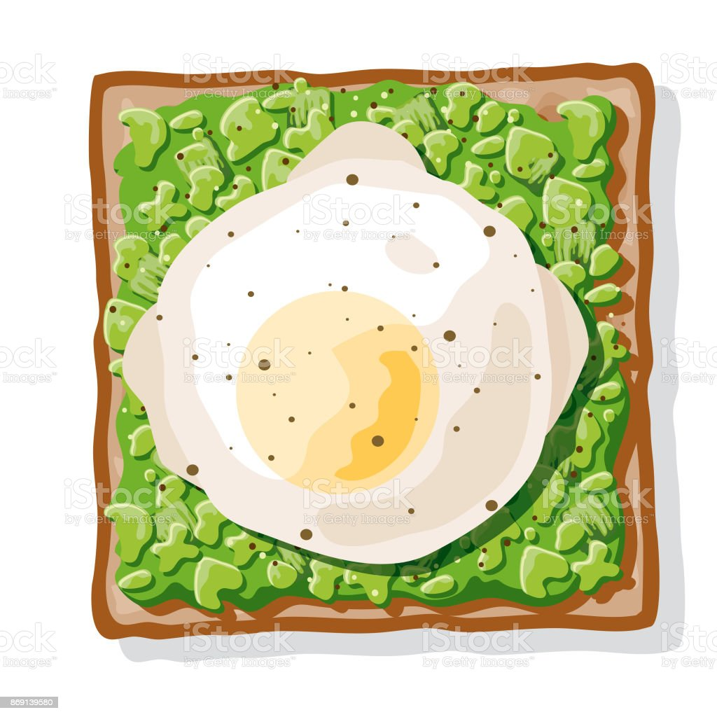 Avocado Toast with a Poached Egg vector art illustration