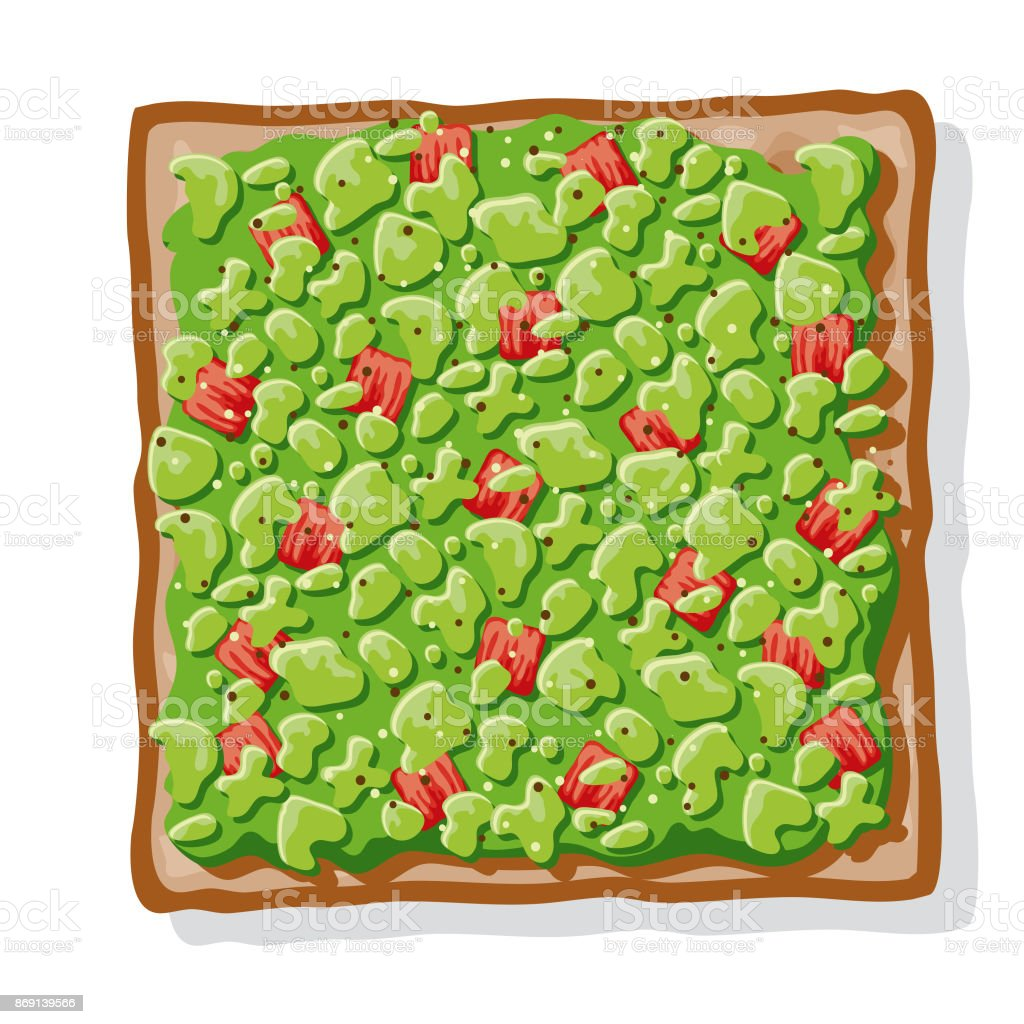 Avocado Toast with Diced Peppers or Tomatoes vector art illustration