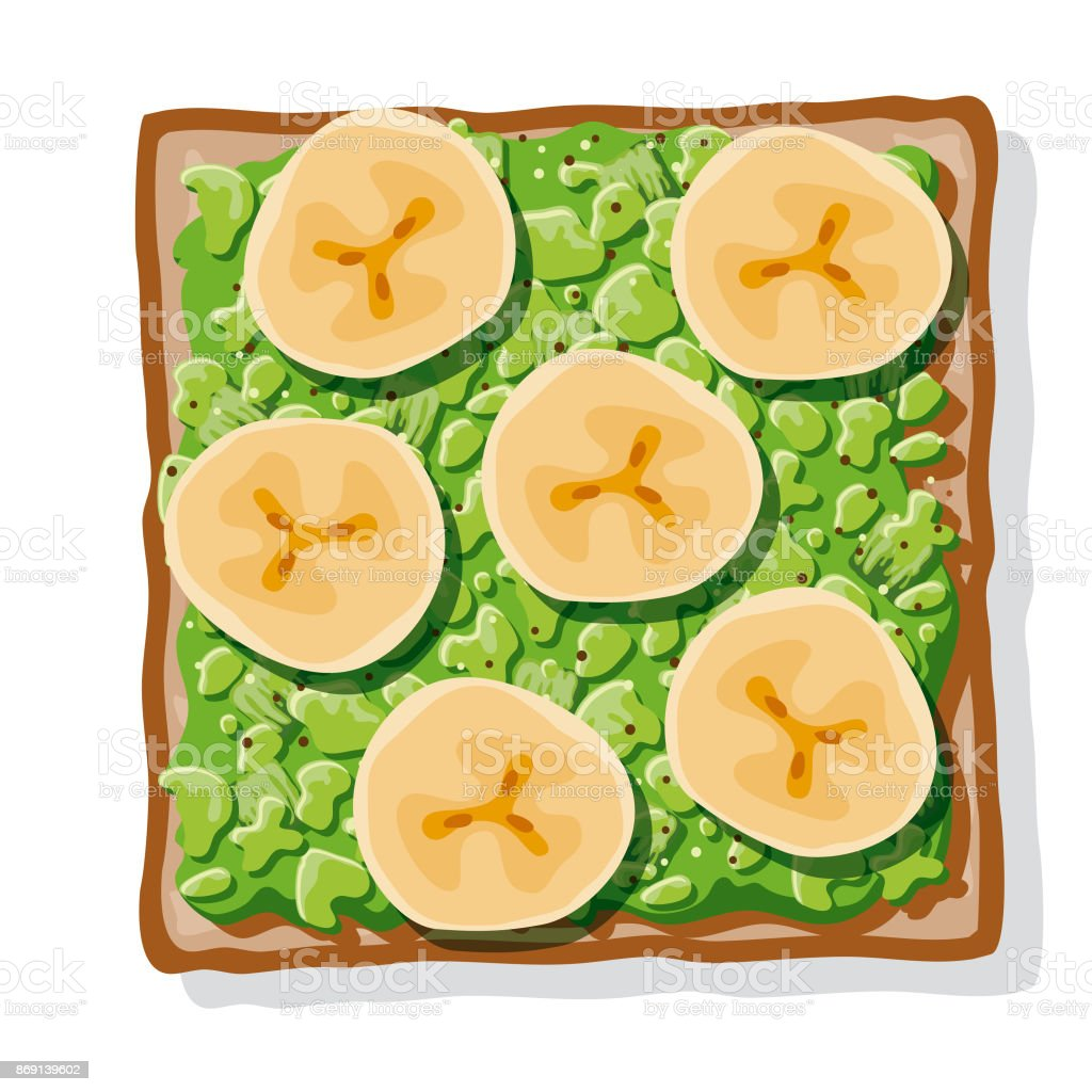 Avocado Toast with Fried Bananas vector art illustration