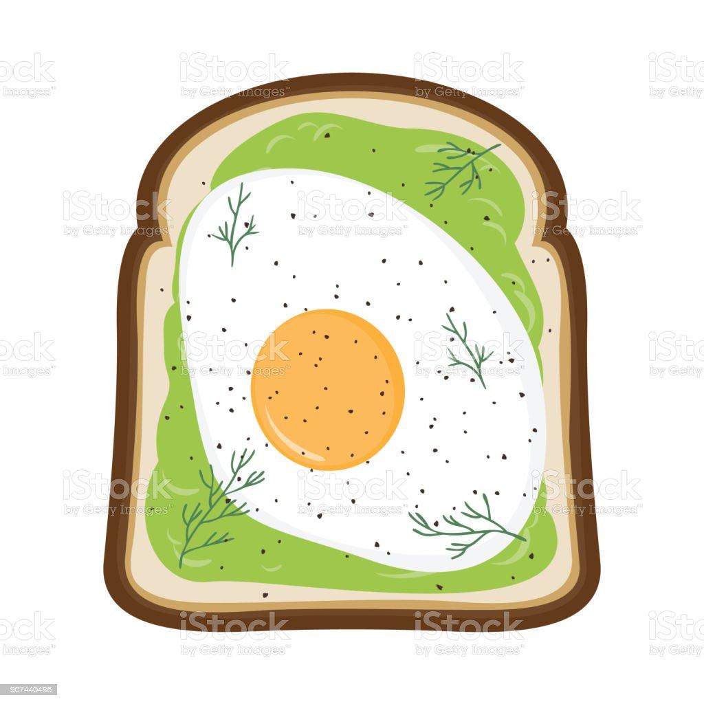 Avocado Toast with Fried Egg on top - Breakfast Vector Illustration vector art illustration