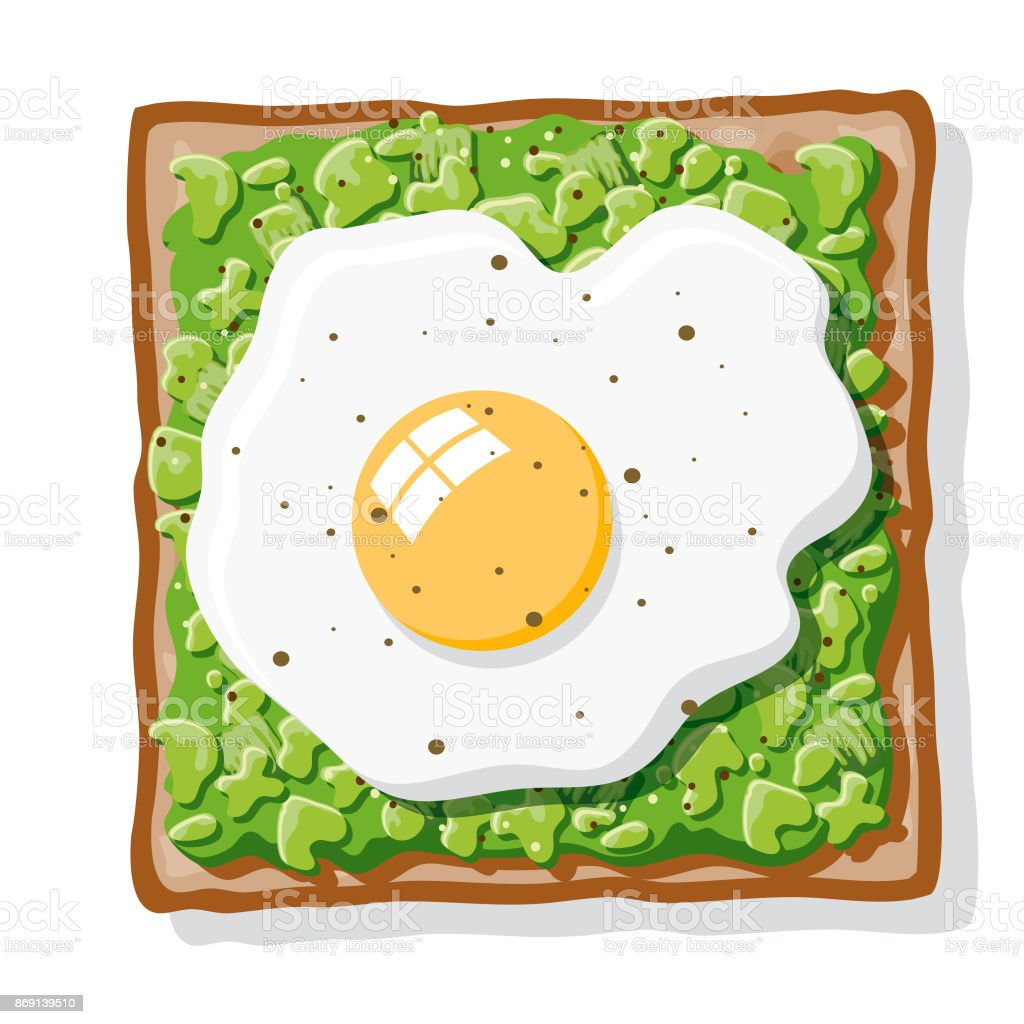 Avocado Toast with Fried Egg vector art illustration