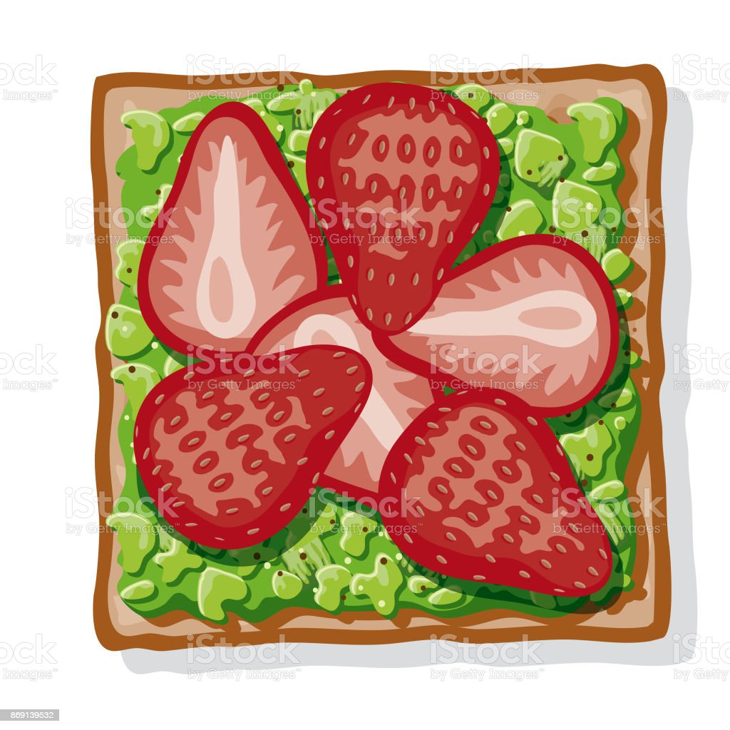 Avocado Toast with Sliced Strawberries vector art illustration
