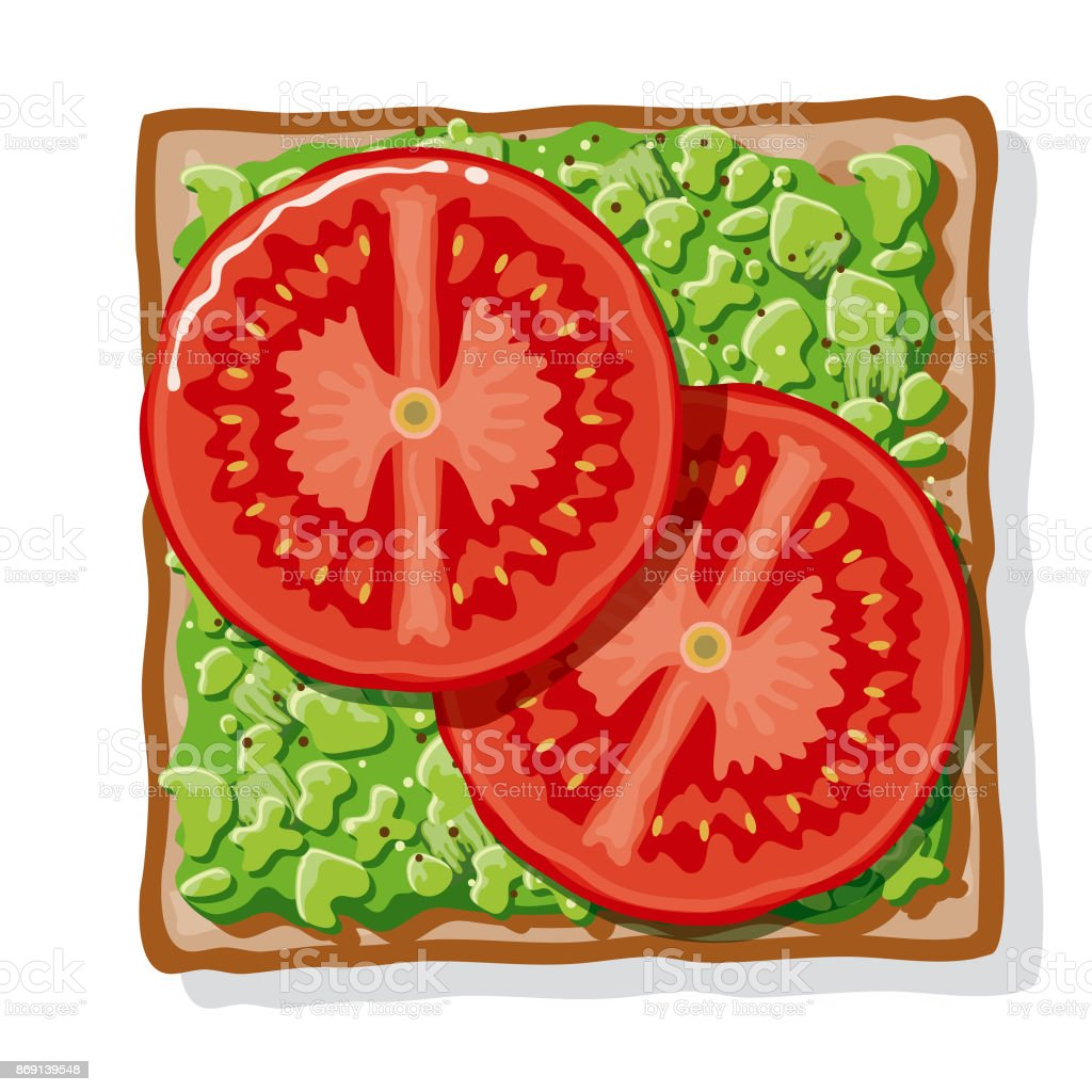 Avocado Toast with Sliced Tomatoes vector art illustration