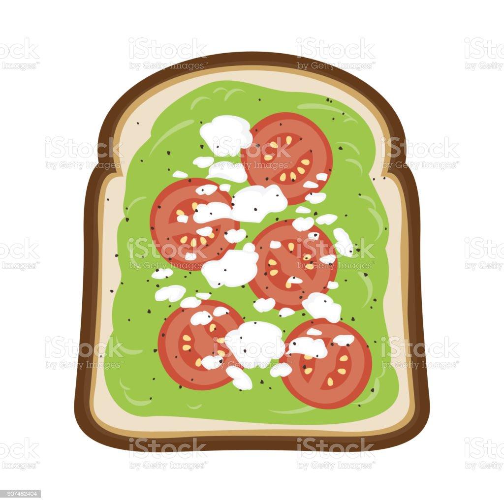 Avocado Toast with Tomato and Feta Cheese - Vector Illustration vector art illustration