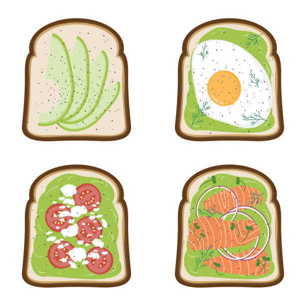 Avocado toasts with egg, feta, tomato and salmon. Vector illustration. vector art illustration