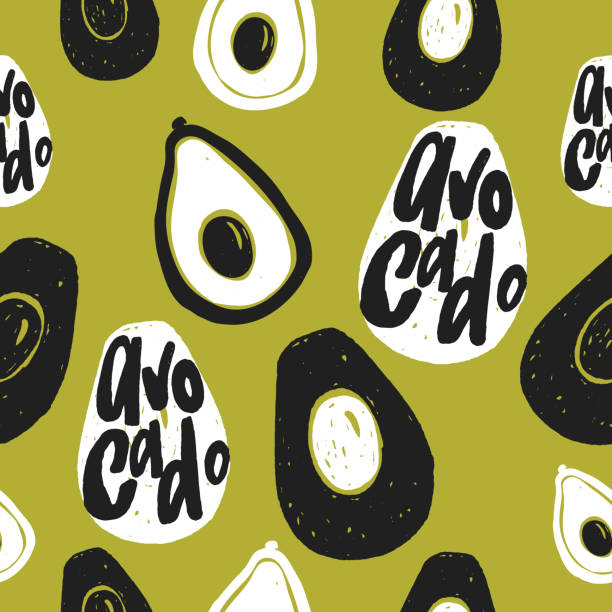 Avocado vector seamless pattern. Hand drawn illustration and lettering. Pop art Avocado vector seamless pattern. Hand drawn illustration and lettering. Pop art style avocado patterns stock illustrations