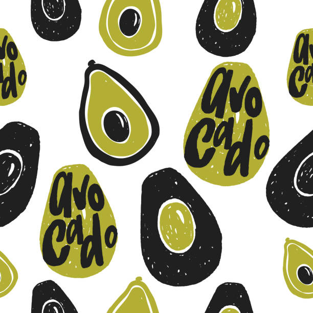 Avocado vector seamless pattern. Avocado vector seamless pattern. Hand drawn illustration and lettering. avocado patterns stock illustrations