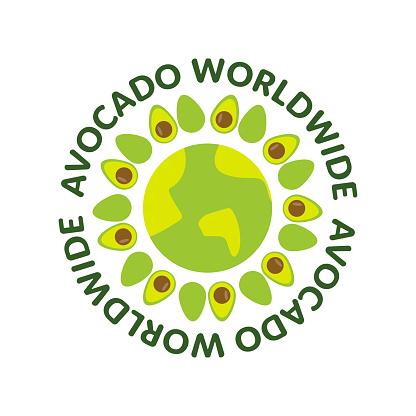 Avocado worldwide design for t-shirt. Avocado earth isolated illustration. Vegan t-shirt