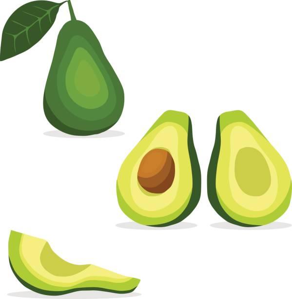 Avocados, avocado icon, tropical fruit. Avocados, avocado icon, tropical fruit. Flat design, vector illustration, vector. avocado stock illustrations