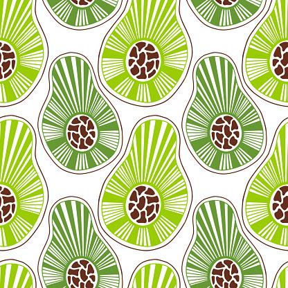 Avocados seamless pattern. Textile and menu design.