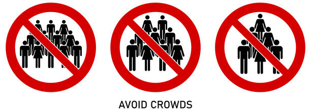 Avoid crowds social distancing sign. Group of people drawing in red crossed circle. Icon can be used during coronavirus or covid19 outbreak vector art illustration