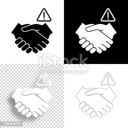 istock Avoid handshakes. Icon for design. Blank, white and black backgrounds - Line icon 1294643237