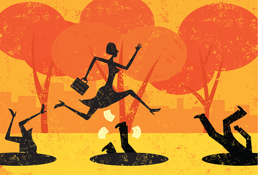 A businesswoman jumping over pitfalls while others fall into them. The people and the background are on separately labeled layers.