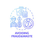 Avoiding fraud and waste concept icon. Prevention strategies idea thin line illustration. Making collection of data central. Protect insurance card. Vector isolated outline RGB color drawing