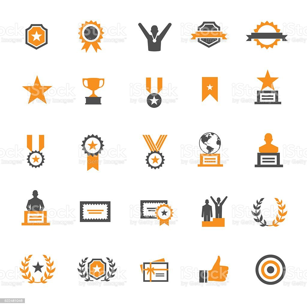 Award and Honor Icon Set vector art illustration