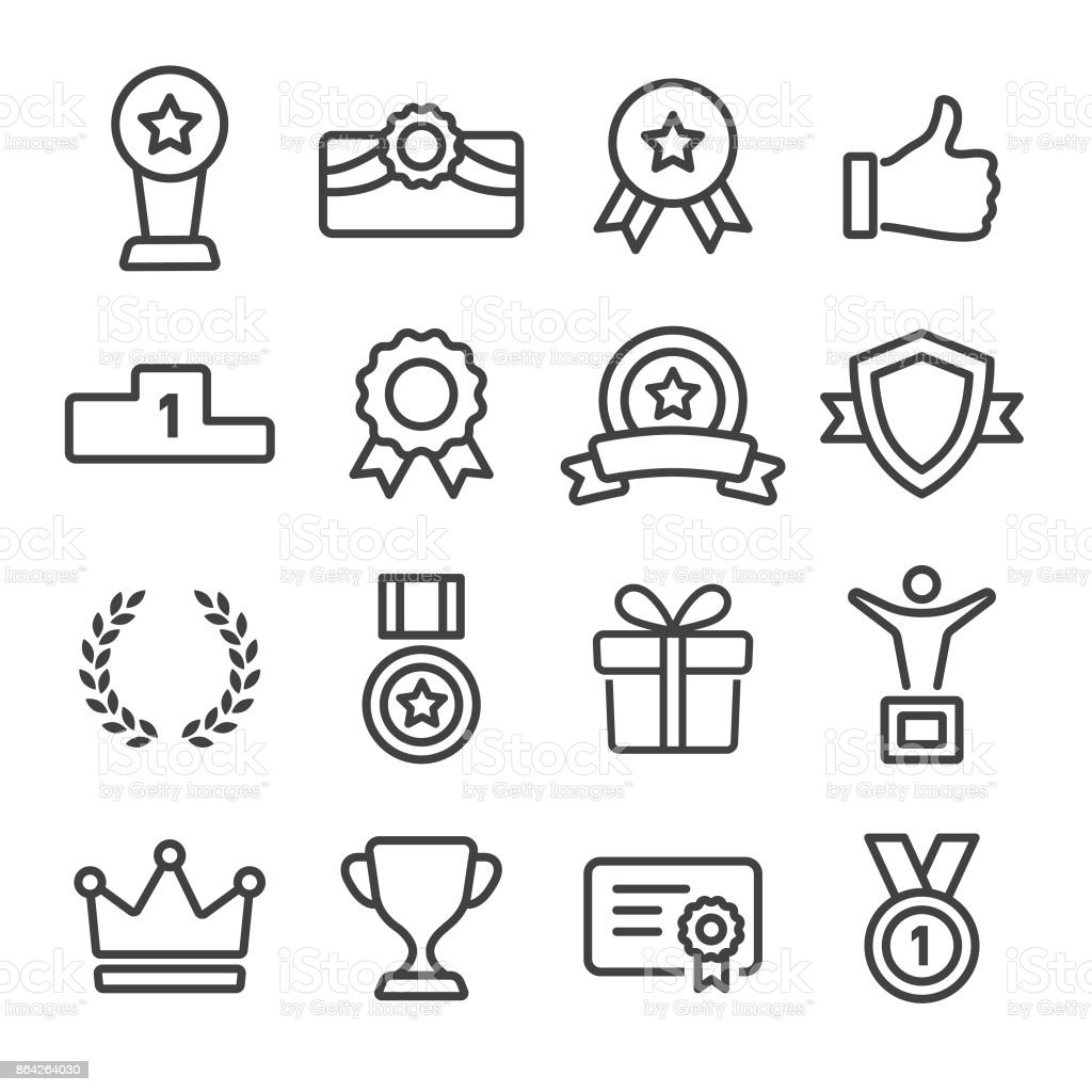 Award and Honor Icons Set - Line Series Award, Honor, Success, Achievement Achievement stock vector