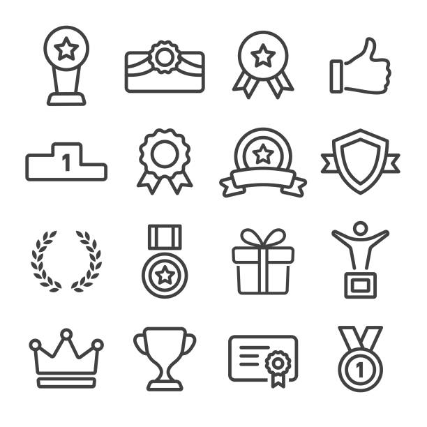 award and honor icons set - line series - zwyciężać stock illustrations