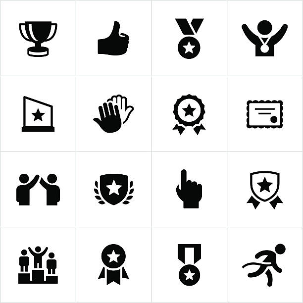 Award and Recognition Icons vector art illustration
