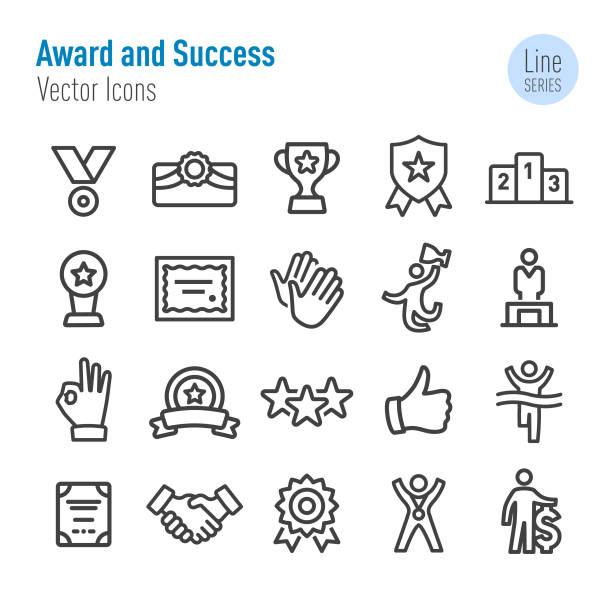 award and success icons-vector line series - danke stock-grafiken, -clipart, -cartoons und -symbole