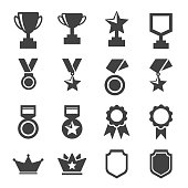 award and trophy icons set. vector illustration.