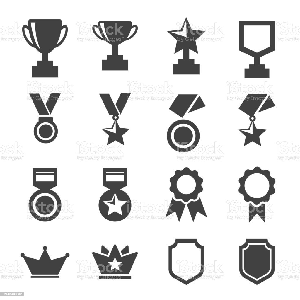 award and trophy icons set. vector illustration. vector art illustration