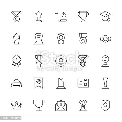 Award and Trophy Icons Thin Line Series Vector EPS File.