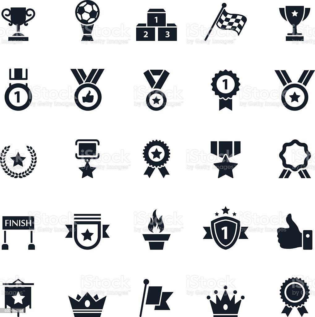 Award and Trophy Icons vector art illustration