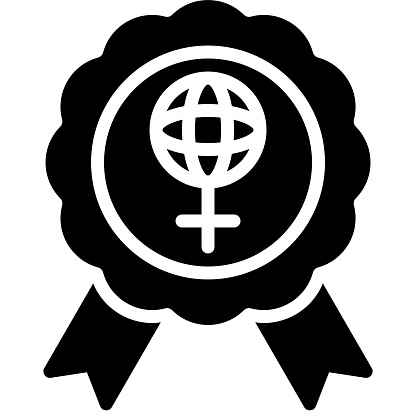 Award badge icon, International Women's Day related vector