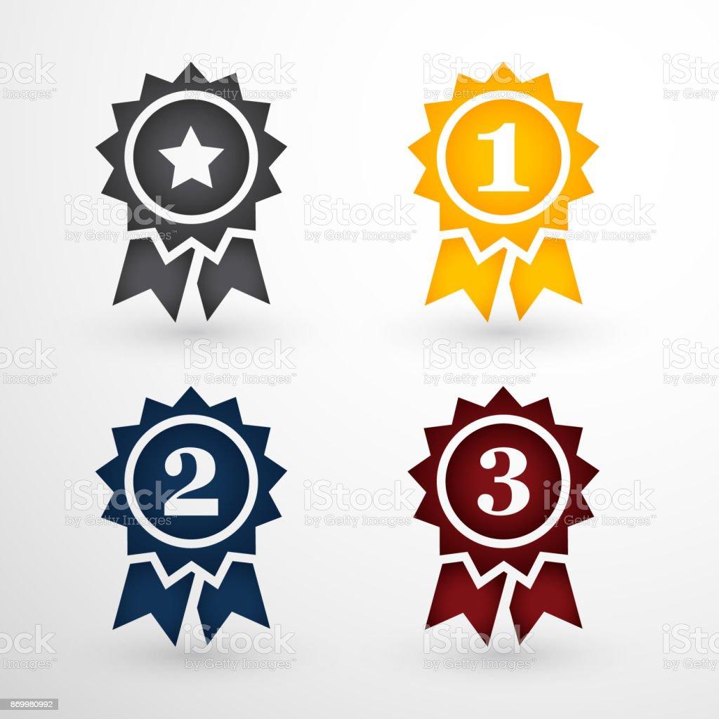 Award Badges Set vector art illustration