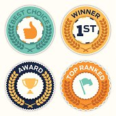 Award badge symbols with space for your copy. EPS 10 file. Transparency effects used on highlight elements.