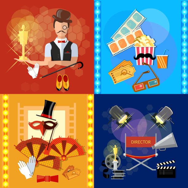 award ceremony cinema festival movie theater shooting film set - oscars stock illustrations, clip art, cartoons, & icons