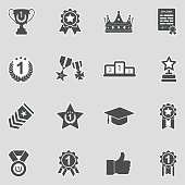 Award Cup And Trophy Icons. Sticker Design. Vector Illustration.