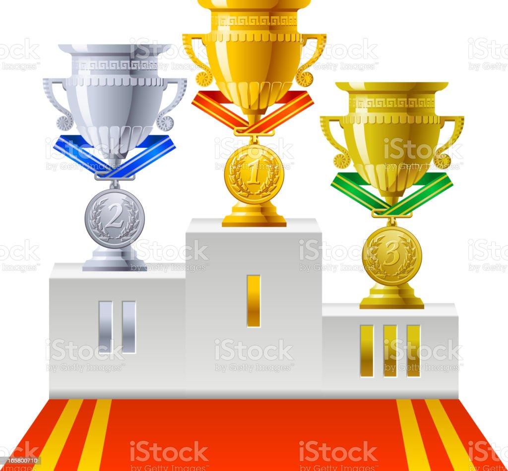 Award Cup Medal vector art illustration